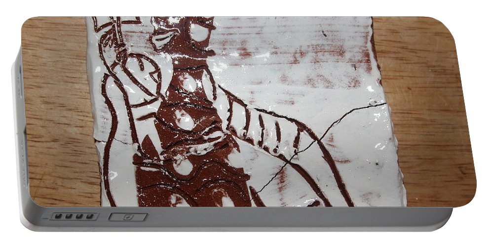 Mamamama Africa Twojesus Portable Battery Charger featuring the ceramic art Lord Bless Me 8 - Tile by Gloria Ssali