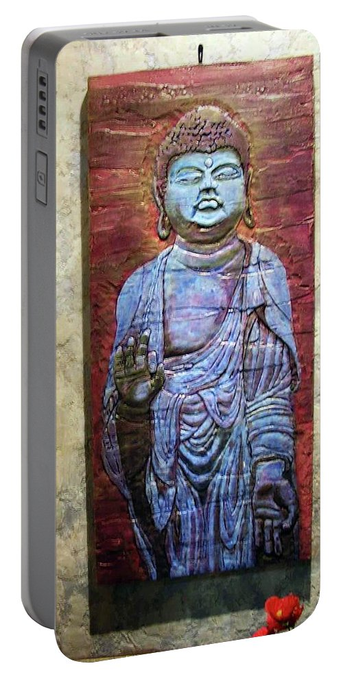 Buddha Artwork Portable Battery Charger featuring the relief Lord Buddha by Constantin Sobaru