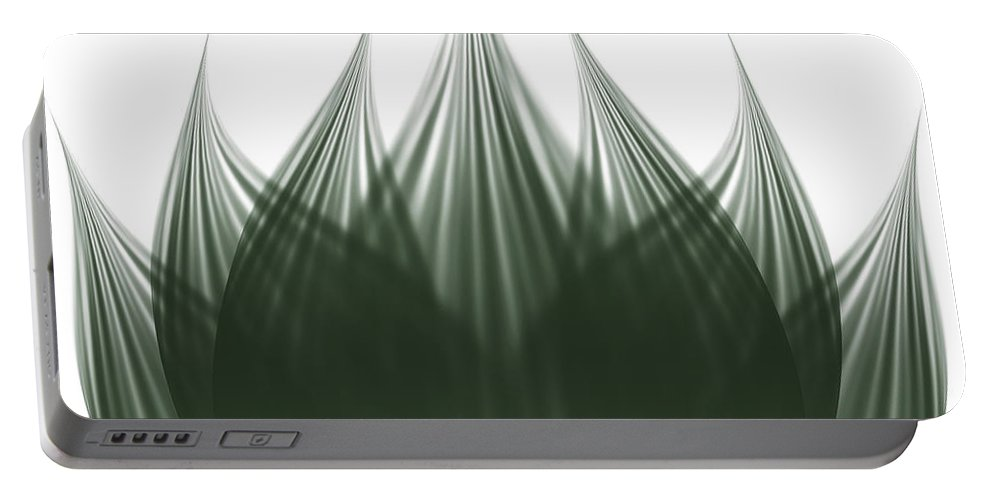 Abstract Portable Battery Charger featuring the digital art Lotus Flower by Atiketta Sangasaeng