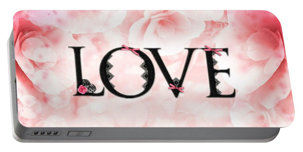 Rose Portable Battery Charger featuring the digital art Love Heart Nd12 by Sandy Sheni
