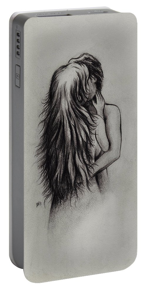 Figures Portable Battery Charger featuring the drawing Lovers by Rachel Christine Nowicki