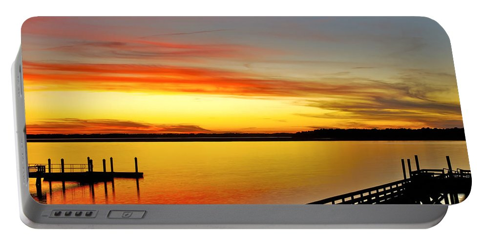 Sunset Portable Battery Charger featuring the photograph Lowcountry Autumn by Phill Doherty