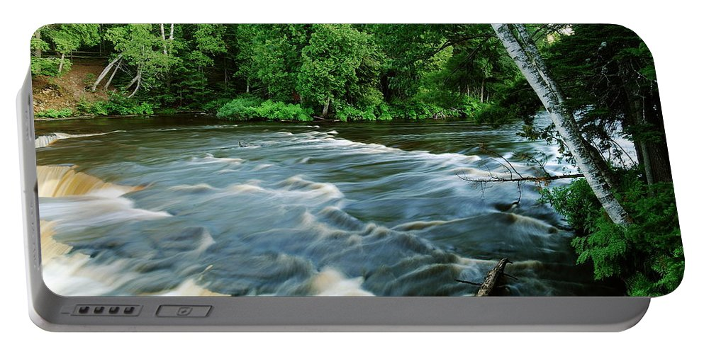 Waterfalls Portable Battery Charger featuring the photograph Lower Tahquamenon Falls by Michael Peychich