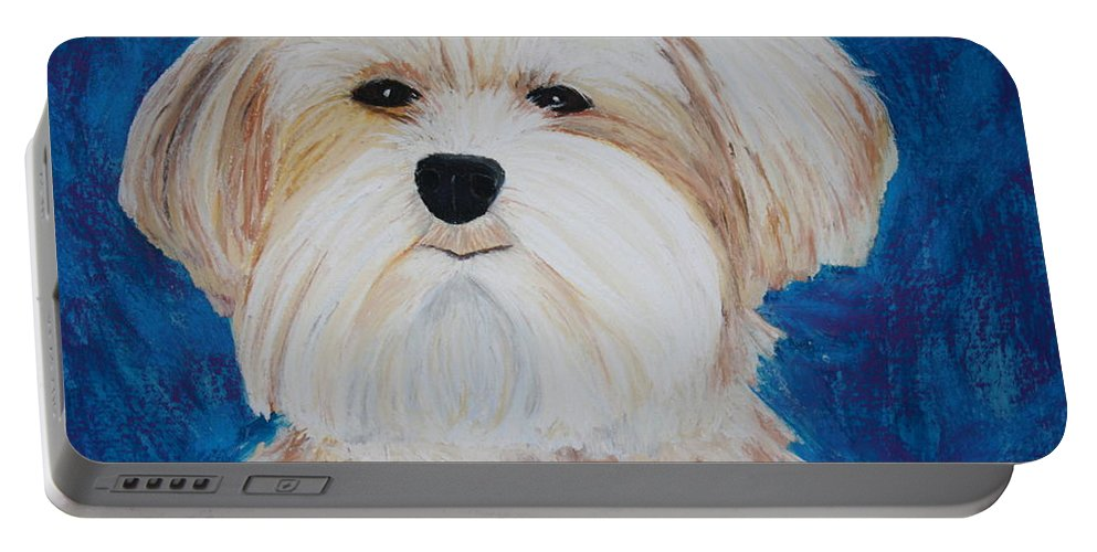 Dog Portable Battery Charger featuring the painting Maggie by Melinda Etzold