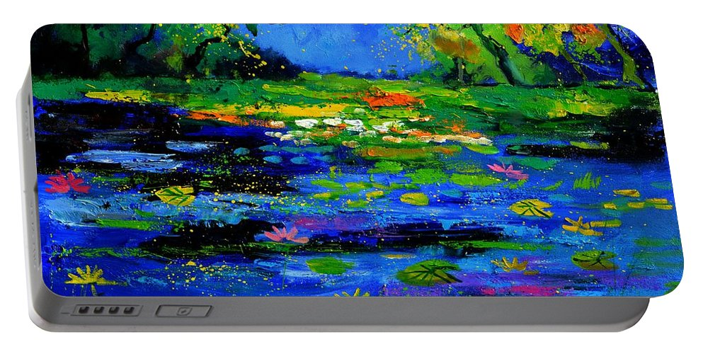 Landscape Portable Battery Charger featuring the painting Magic pond 765170 by Pol Ledent