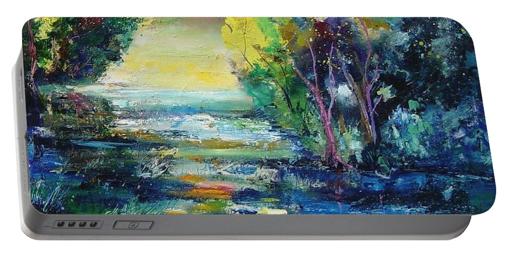 Pond Portable Battery Charger featuring the painting Magic Pond by Pol Ledent