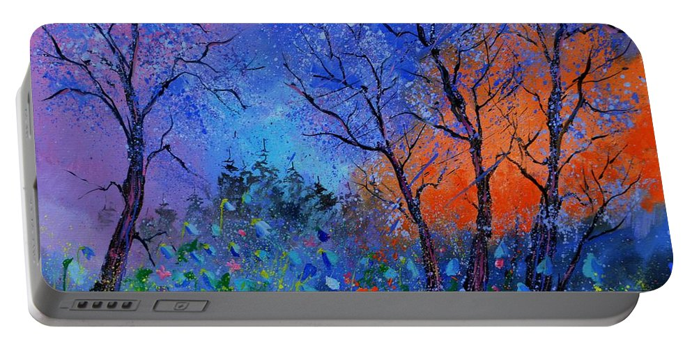 Landscape Portable Battery Charger featuring the painting Magic wood by Pol Ledent