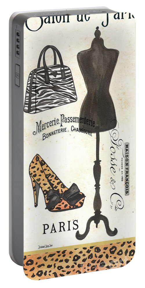 Fashion Portable Battery Charger featuring the painting Maison De Mode 1 by Debbie DeWitt