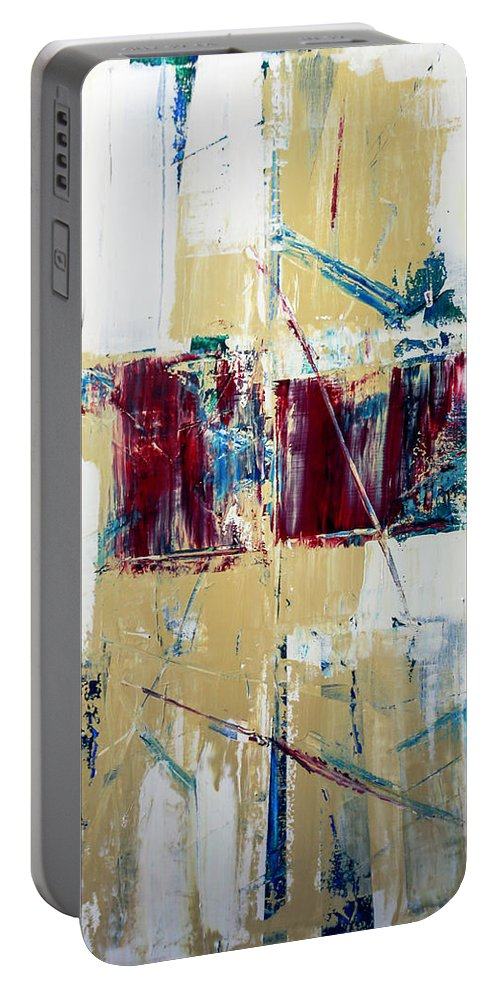 Portable Battery Charger featuring the painting Malice by Kevin Schmidt