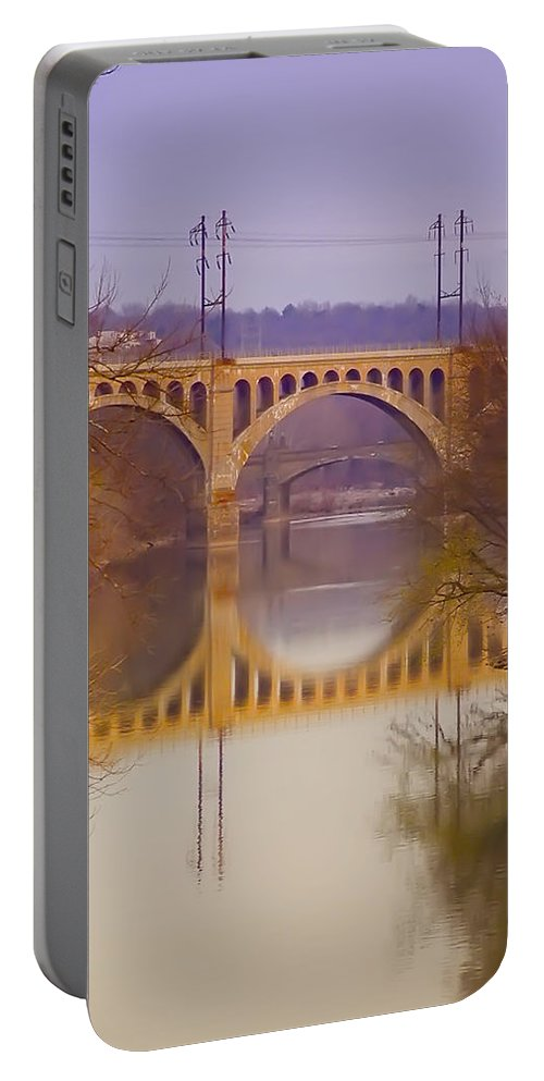 Manayunk Portable Battery Charger featuring the photograph Manayunk Bridge by Bill Cannon