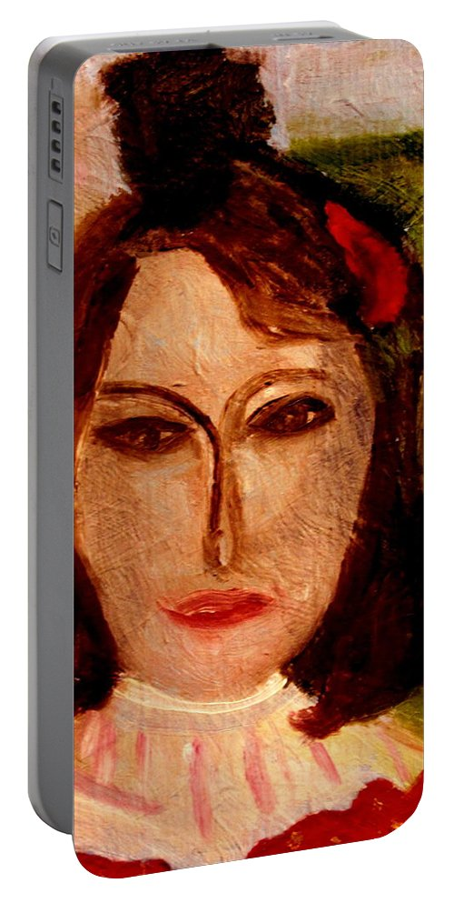Woman Portable Battery Charger featuring the painting Marianne by Bill OConnor