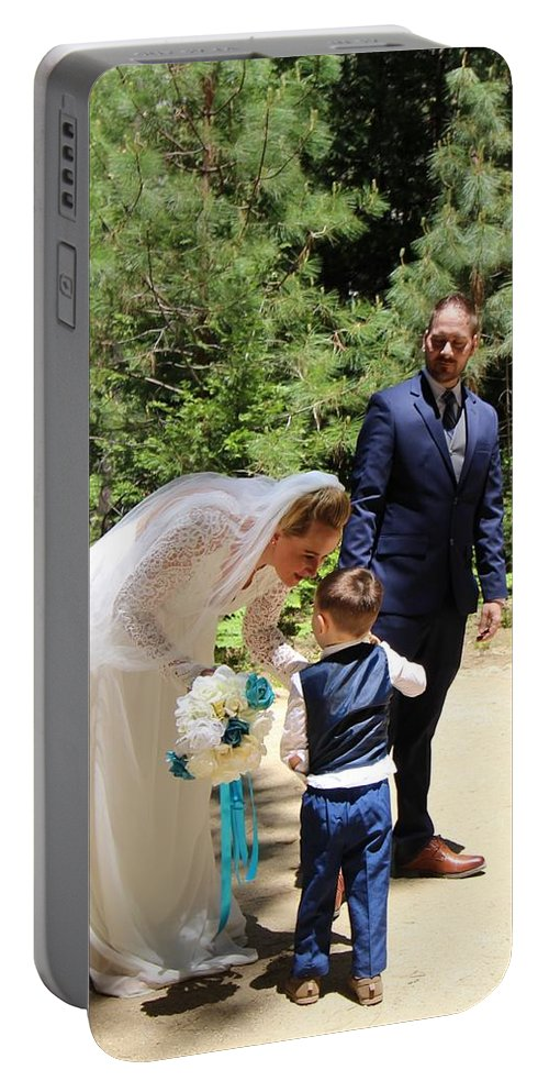 Portable Battery Charger featuring the painting Married by Travis Day
