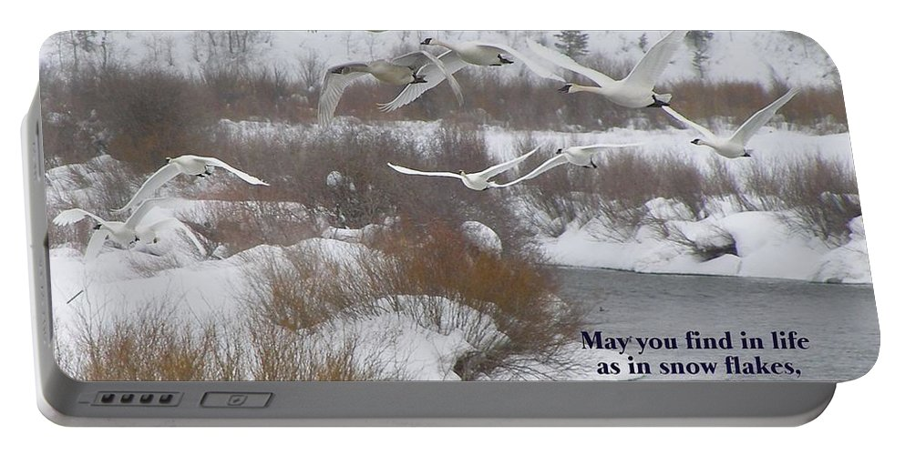 Swans Portable Battery Charger featuring the photograph May You Find In Life... by DeeLon Merritt