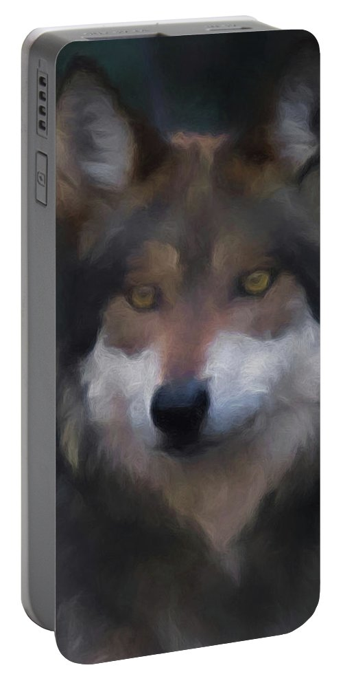 Wolf Portable Battery Charger featuring the digital art Mexican Grey Wolf Da by Ernie Echols