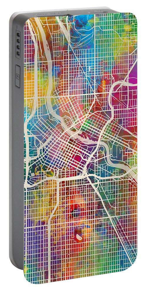 Minneapolis Portable Battery Charger featuring the digital art Minneapolis Minnesota City Map by Michael Tompsett