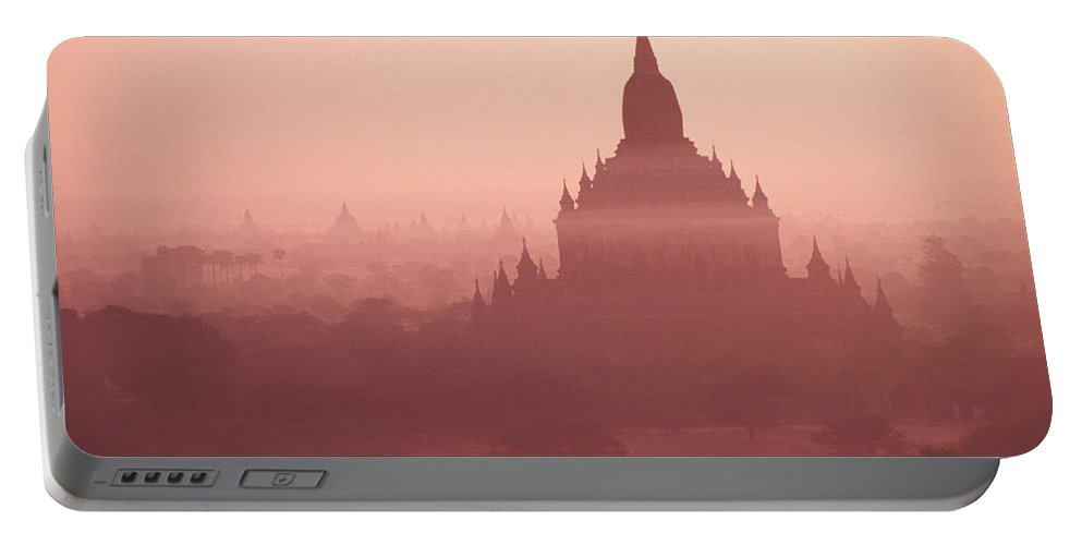 Mist Portable Battery Charger featuring the photograph Misty Dawn In Bagan by Michele Burgess