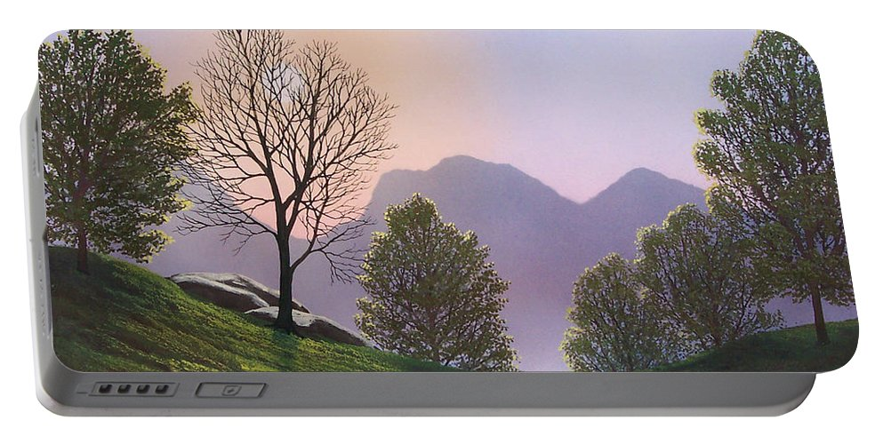 Landscape Portable Battery Charger featuring the painting Misty Spring Meadow by Frank Wilson