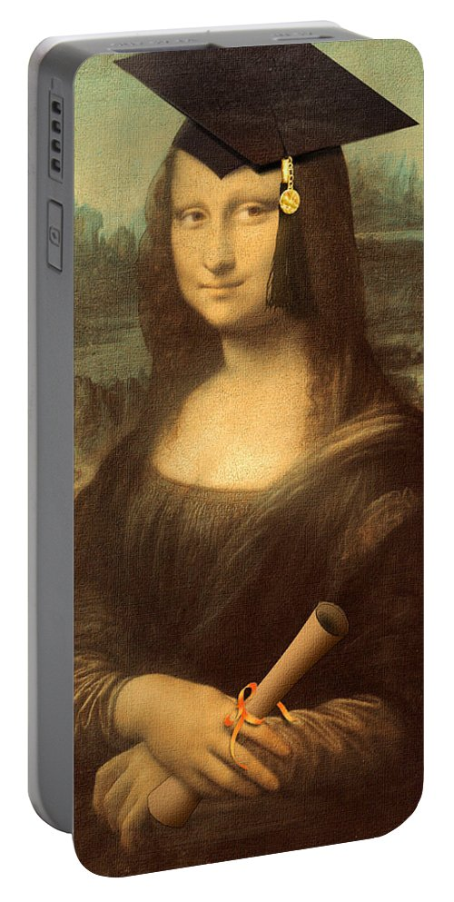 Da Vinci Portable Battery Charger featuring the painting Mona Lisa Graduation Day by Gravityx9 Designs