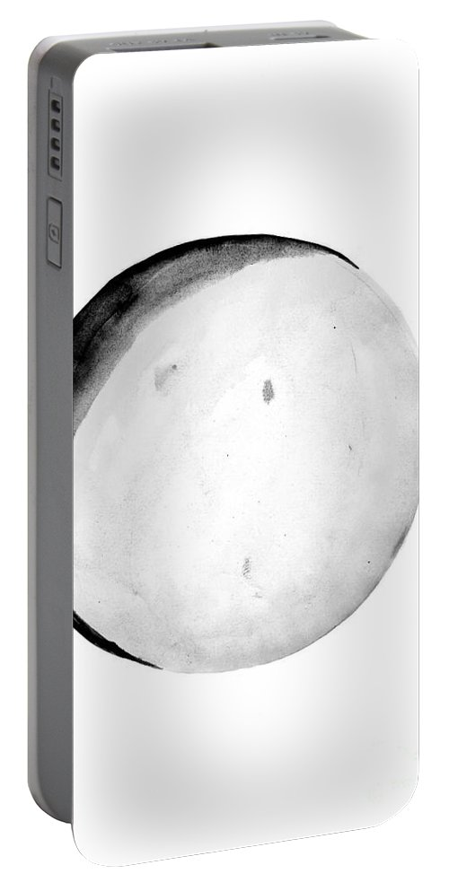 First Quarter Phase Portable Battery Charger featuring the painting Moon Phase by Sweeping Girl