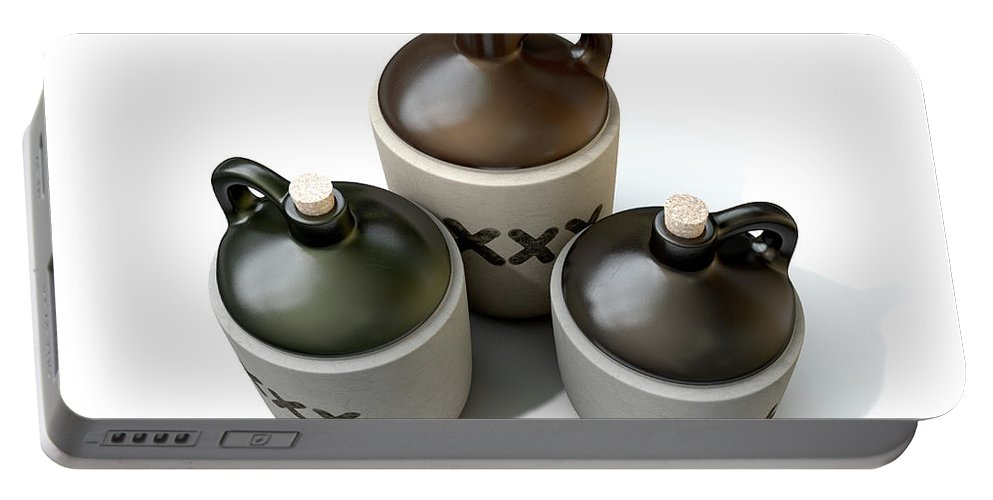 Jug Portable Battery Charger featuring the digital art Moonshine Jug by Allan Swart
