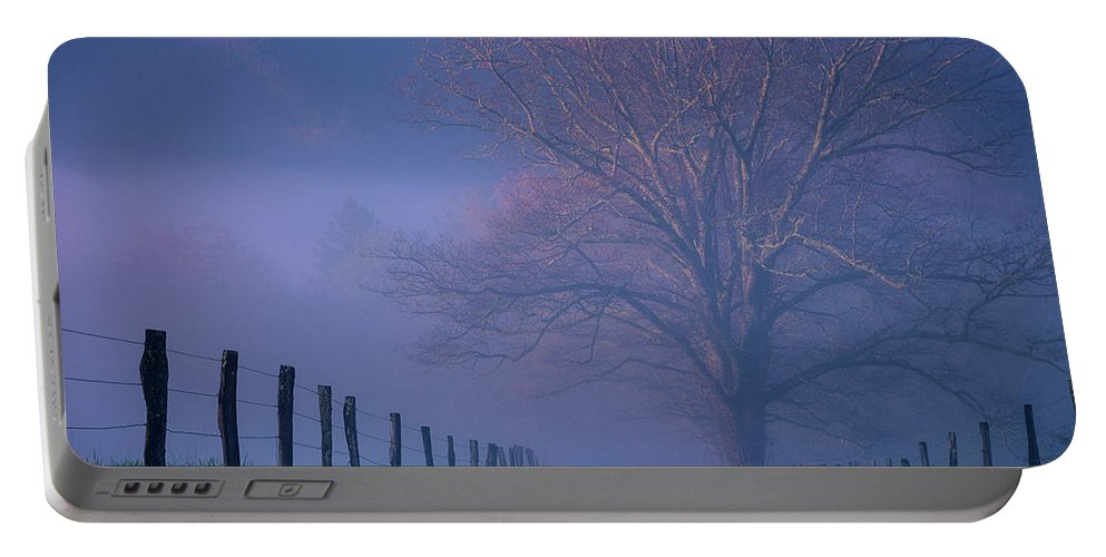 Nature Portable Battery Charger featuring the photograph Morning Fog, #1, Smoky Mountains, Tennessee by Stanton Tubb