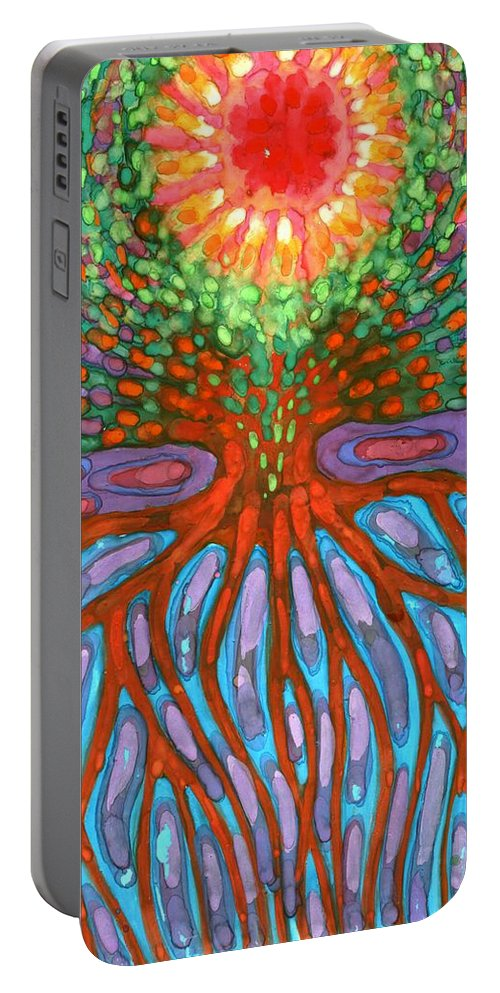 Colour Portable Battery Charger featuring the painting Morning by Wojtek Kowalski