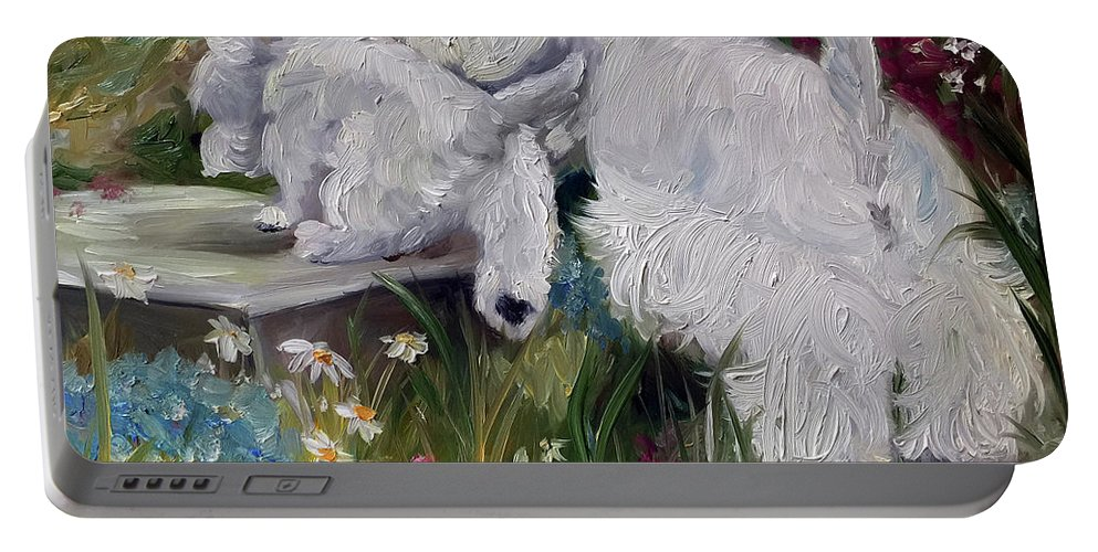 Westie Portable Battery Charger featuring the painting Mother's Day by Mary Sparrow