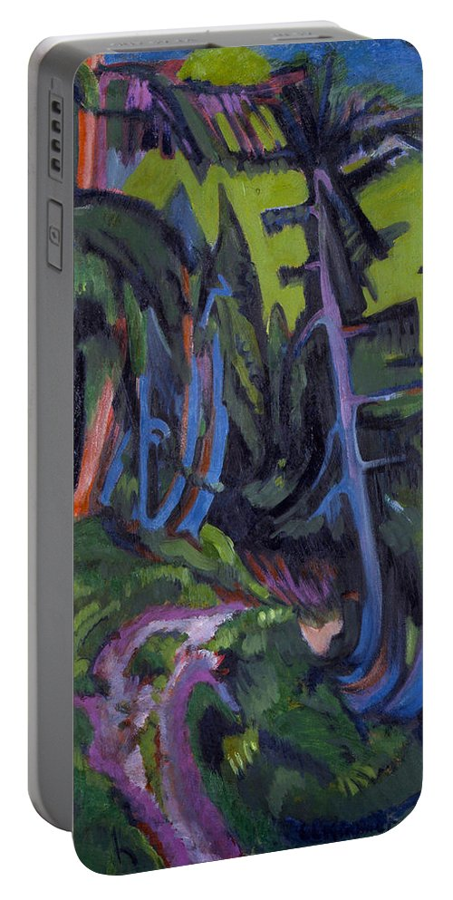 Die Brucke Portable Battery Charger featuring the painting Mountain Forest Path by Ernst Ludwig Kirchner