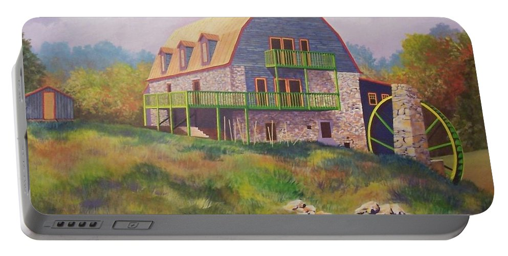 Mill Portable Battery Charger featuring the painting Mountain Mill by Hugh Harris