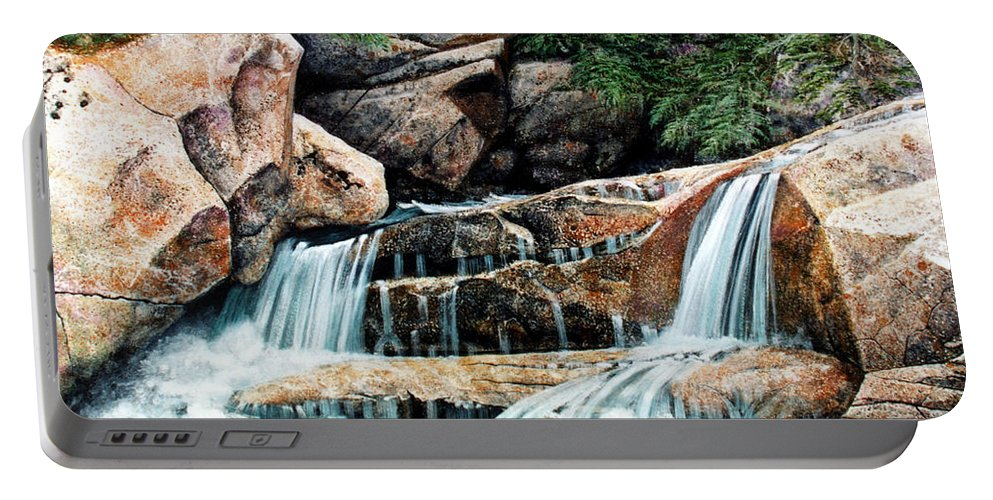 Landscape Portable Battery Charger featuring the painting Mountain Stream by Frank Wilson