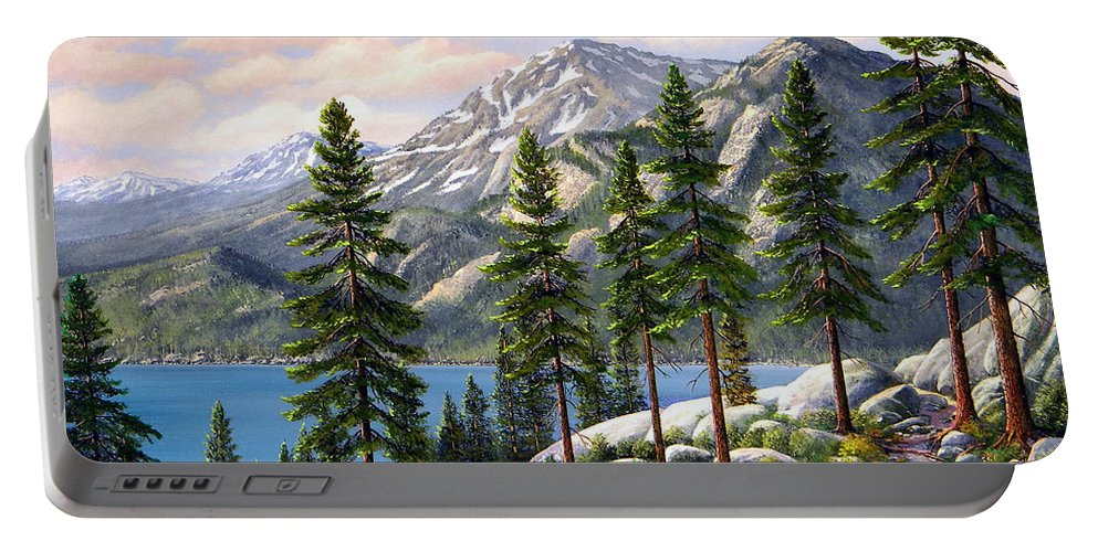 Landscape Portable Battery Charger featuring the painting Mountain Trail by Frank Wilson