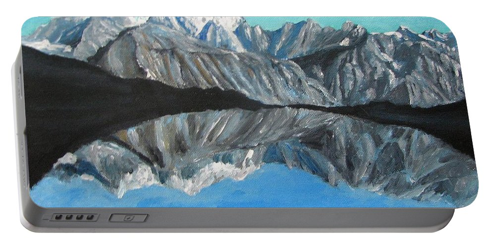 Smoky Mountains Portable Battery Charger featuring the painting Mountains Landscape Acrylic Painting by Natalja Picugina