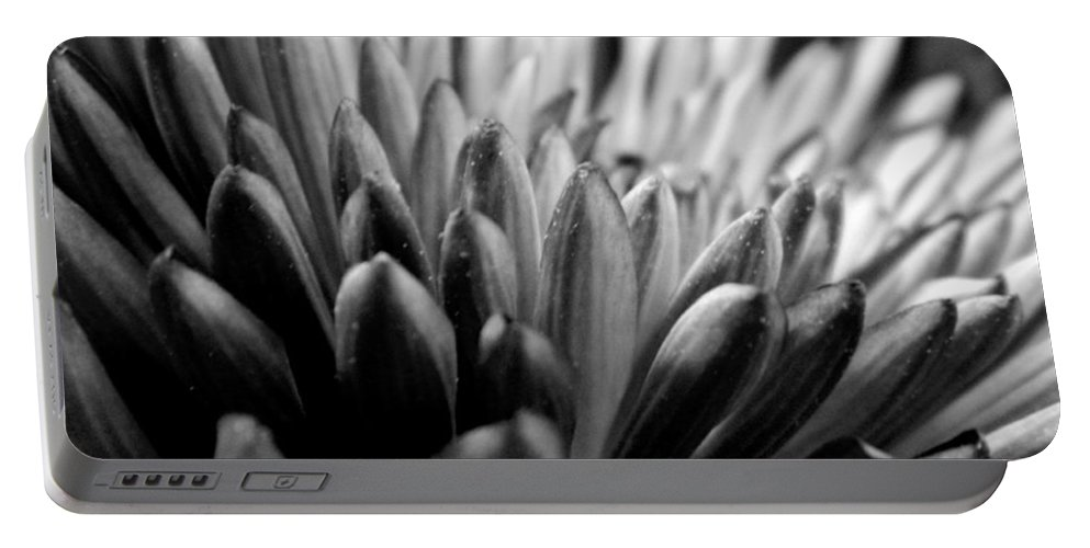 Bw Portable Battery Charger featuring the photograph Monochrome Flower Series - Mumz The Word by Arlane Crump