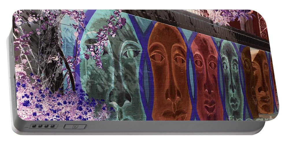 Neighborhood Portable Battery Charger featuring the photograph Mural Faces by Jim Corwin