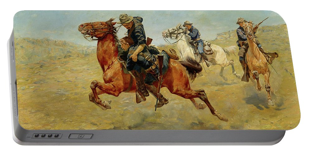 Horses Portable Battery Charger featuring the painting My Bunkie, 1899 by Charles Schreyvogel