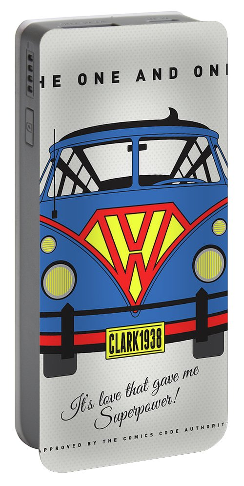 Superheroes Portable Battery Charger featuring the digital art My Superhero-vw-t1-superman 1 by Chungkong Art