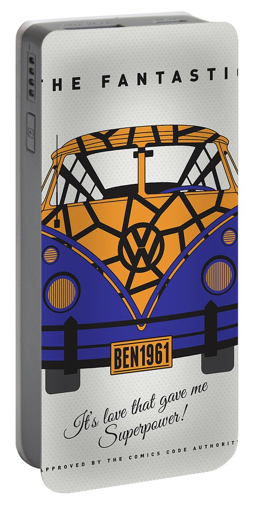 Superheroes Portable Battery Charger featuring the digital art My Superhero-vw-t1-the Thing 1 by Chungkong Art