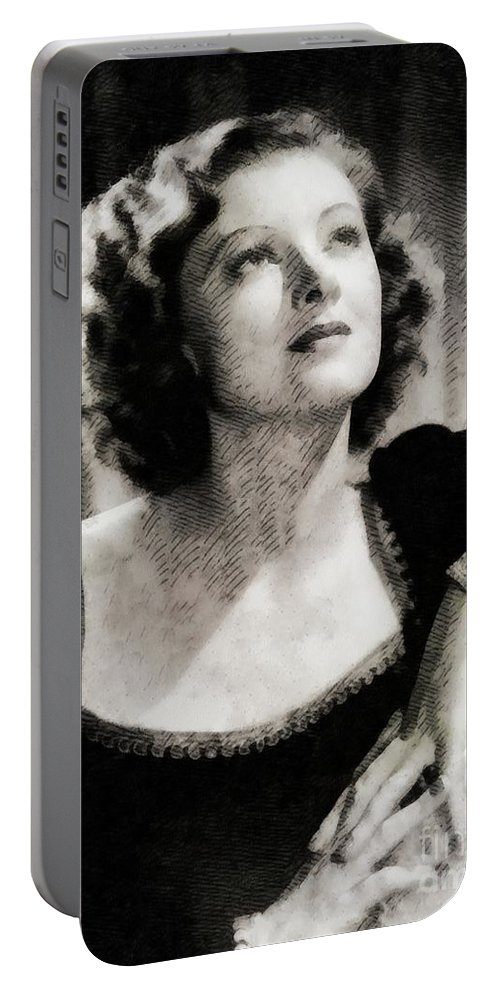 Myrna Portable Battery Charger featuring the painting Myrna Loy, Vintage Actress by John Springfield