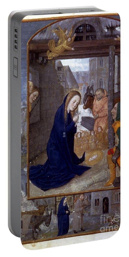 1500 Portable Battery Charger featuring the photograph Nativity With Shepherds by Granger