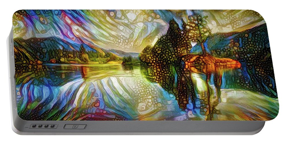 Landscape Portable Battery Charger featuring the mixed media Nature Reflections by Lilia D