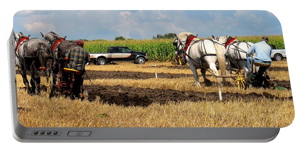 Horses Portable Battery Charger featuring the photograph Neck And Neck by Ian MacDonald