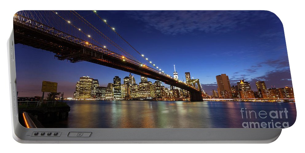 New Portable Battery Charger featuring the photograph New York City Skyline By Night by Antonio Gravante
