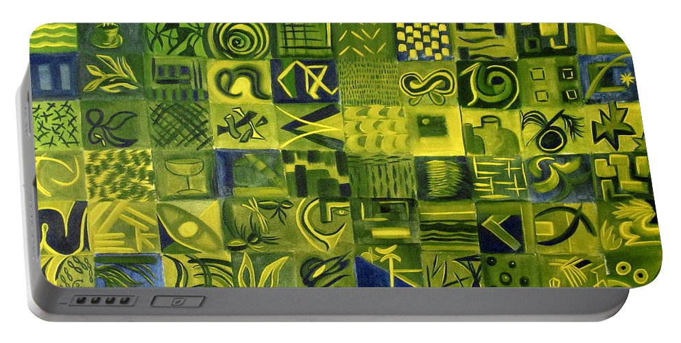 Green Portable Battery Charger featuring the painting Night On The Lawn by Patricia Cleasby