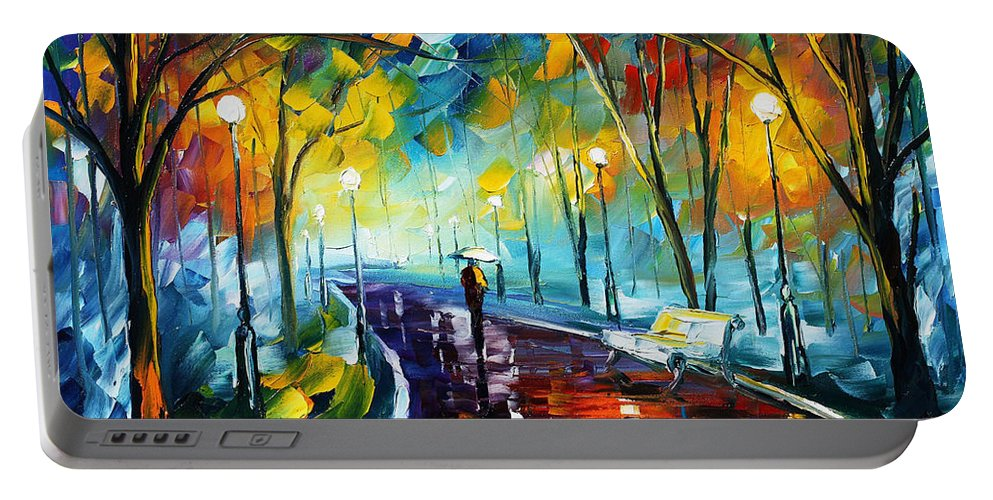 Afremov Portable Battery Charger featuring the painting Night Park by Leonid Afremov