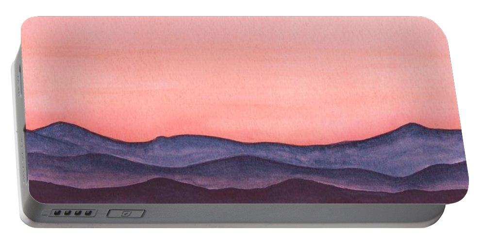 Watercolor Portable Battery Charger featuring the painting Nightfall Over The Hills by Brenda Owen