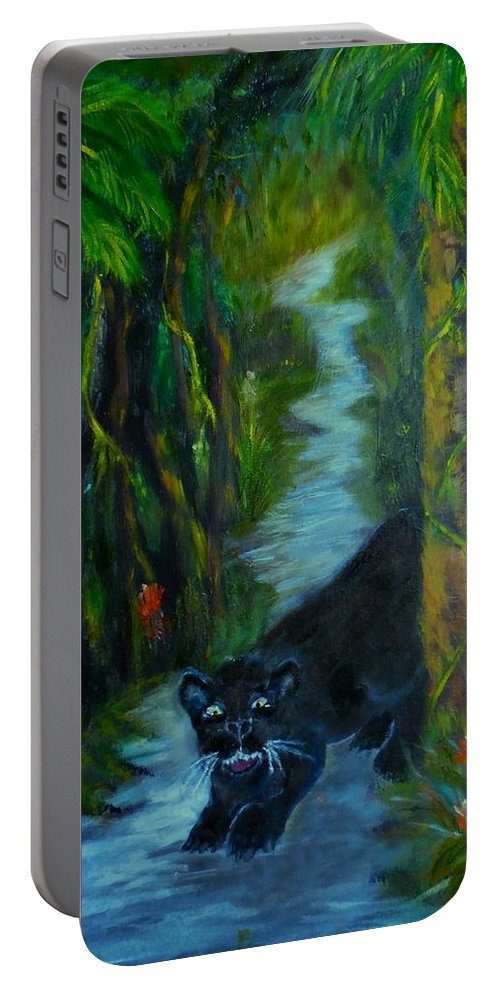 Still Life Portable Battery Charger featuring the painting No Trespassing by Karen Lipek