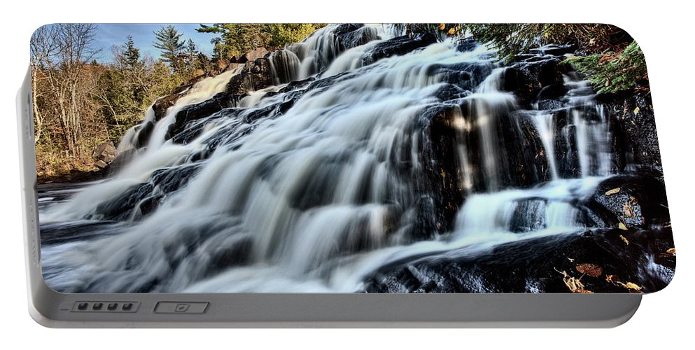 Waterfall Portable Battery Charger featuring the digital art Northern Michigan Up Waterfalls Bond Falls by Mark Duffy