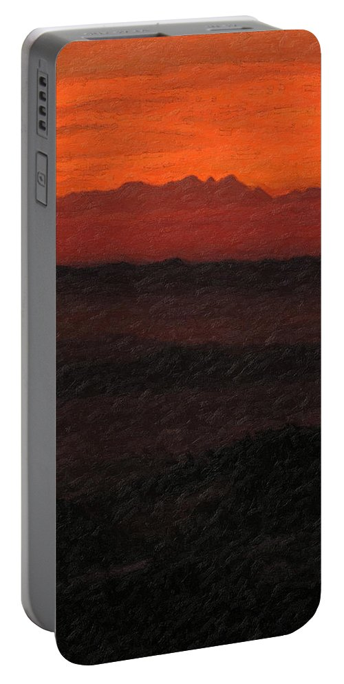�not Quite Rothko� Collection By Serge Averbukh Portable Battery Charger featuring the photograph Not quite Rothko - Blood Red Skies by Serge Averbukh