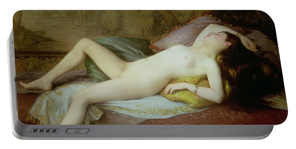 Nude Portable Battery Charger featuring the painting Nude Lying On A Chaise Longue by Gustave-Henri-Eugene Delhumeau