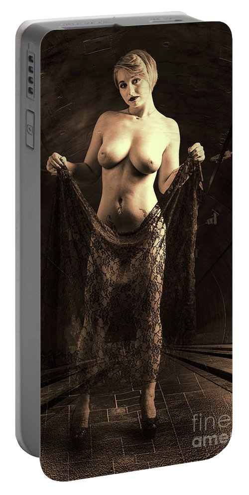 Nude Portable Battery Charger featuring the photograph Nude Woman Model 1722 027.1722 by Kendree Miller